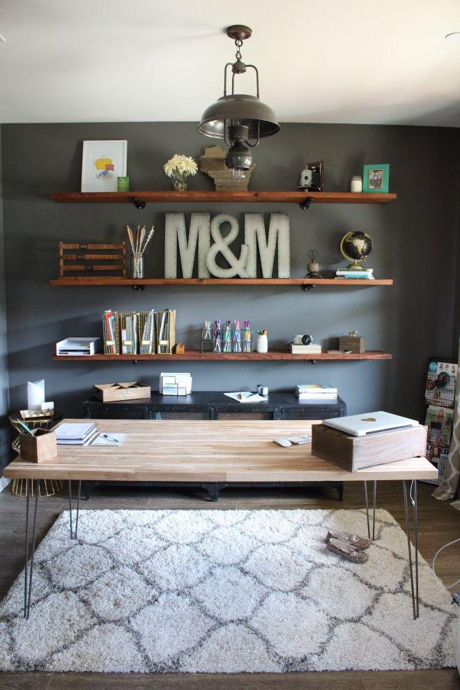 Industrial Home Office Desk Install These DIY Industrial Inspired Wood Shelves In Your Home Office For A Functional And Rustic Look Desk