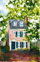Georgetown Row House by AnnaleeWoodFineArt on Etsy, $75.00