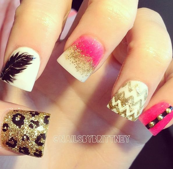 Gold, pink nails with chevron, cheetah, & feather