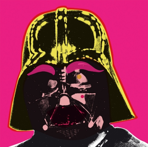 By Andy Warhol, Darth Vader. Usually, I hate pink, but because this is abstract I think pink is a perfect choice, as it really blends with the yellow.