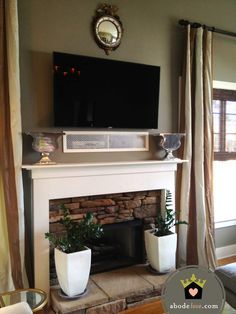 tv above fireplace cable box - Google Search