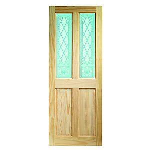 Wickes Skipton Internal Softwood Door Clear Pine Glazed 4 Panel 1981x838mm