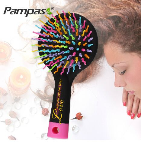 1pc rainbow tangle brush for brazilian indian keratin hair extension wig styling tools pinceis magic comb Free shipping