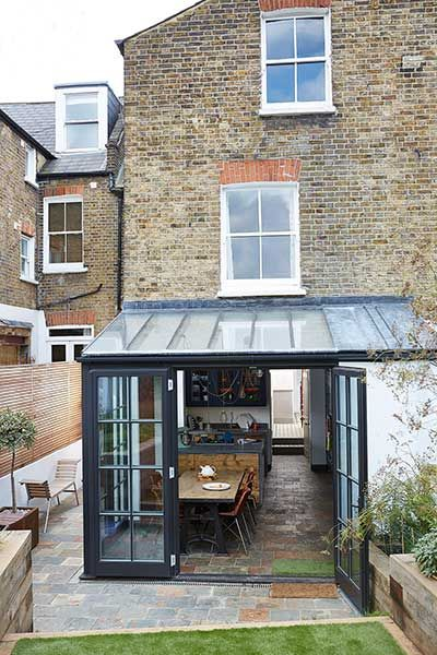 Crittall style doors & windows. Inspiration for north facing garden - maximising light!