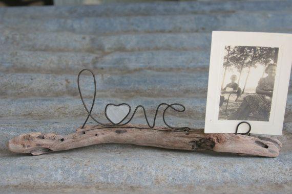 AMOUR fil mot et mer cœur de verre sur bois flotté avec porte photo ou carte d…