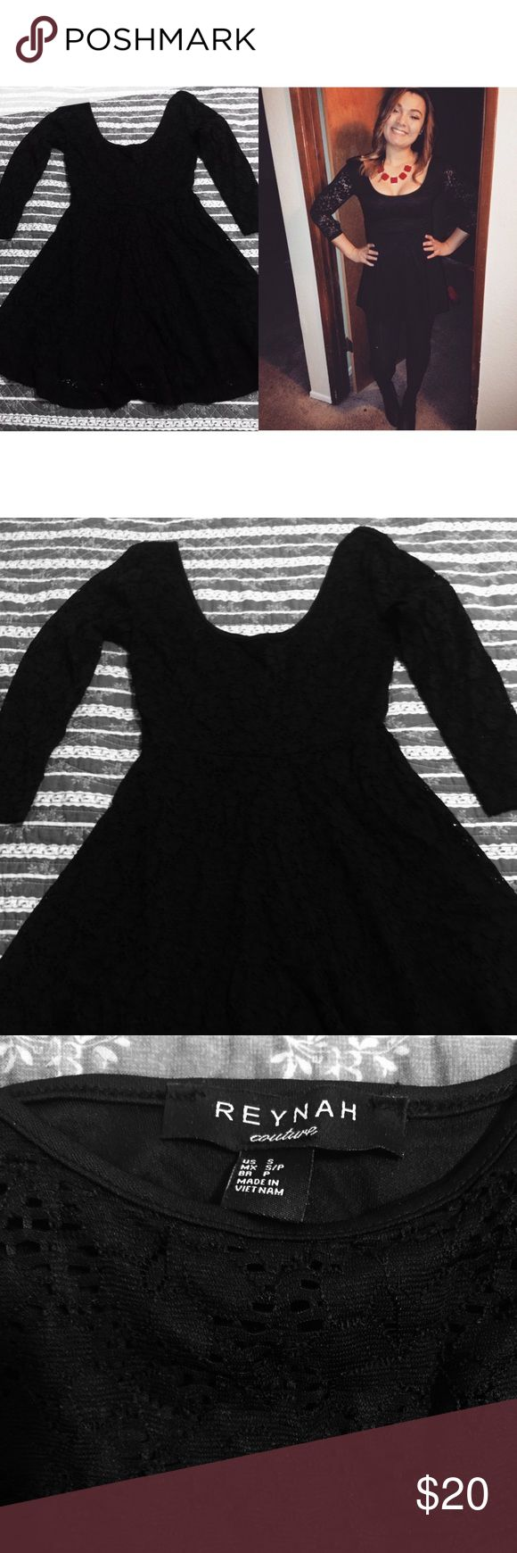 Black lace dress Black lace dress . Very cute dinner date dress . Only wore once in photo . Size small Dresses Mini