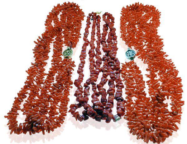 Echte Koralle   Naturprodukt unbehandelter Korallenschmuck   8 Korallen-Ketten in verschiedenen Längen