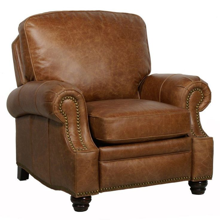 Barcalounger Longhorn II Leather Recliner with Nailheads - 74727540116