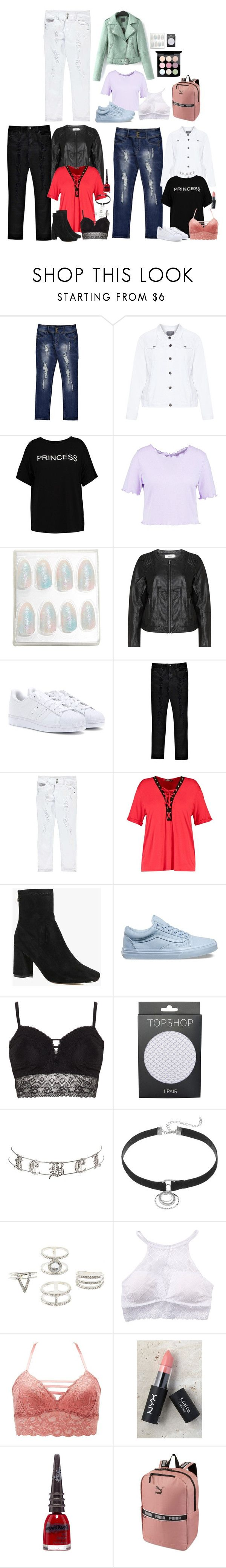 """""""Plus Size Winter Outfits"""" by emmammh ❤ liked on Polyvore featuring Boohoo, Zhenzi, Zizzi, adidas Originals, Vans, Ashley Graham, Topshop, Charlotte Russe, René Rofé and NYX"""