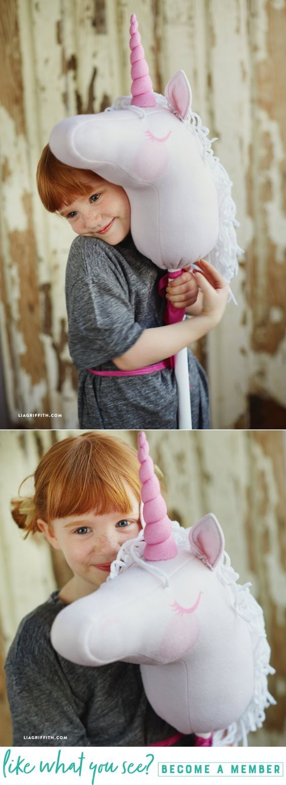 Make a Magical Stick Unicorn with www.LiaGriffith.com #unicorn #diyunicorn #unicorndiy #stickunicorn #stickhorse #diyforkids #spoonflower #sewingproject