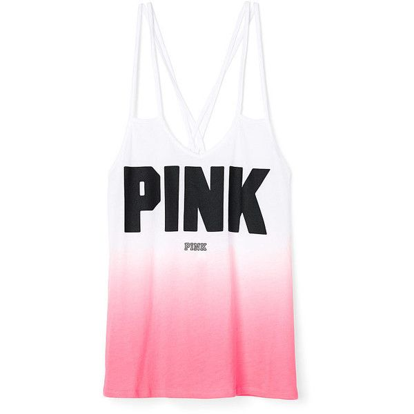 Victoria's Secret PINK Strappy Tank ($27) ❤ liked on Polyvore featuring tops, tanks, tops/outerwear, purple, jersey tank, cross back tank top, purple jersey, strappy tank top and strappy top