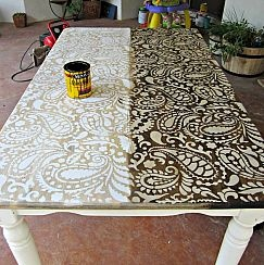 Paisley table - half before stain, half after. Drew said yes! To my request to make all our pop up camper counters look like this! Can't wait!