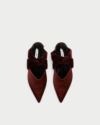 Image 4 of VELVET BACKLESS SHOES WITH BOW from Zara