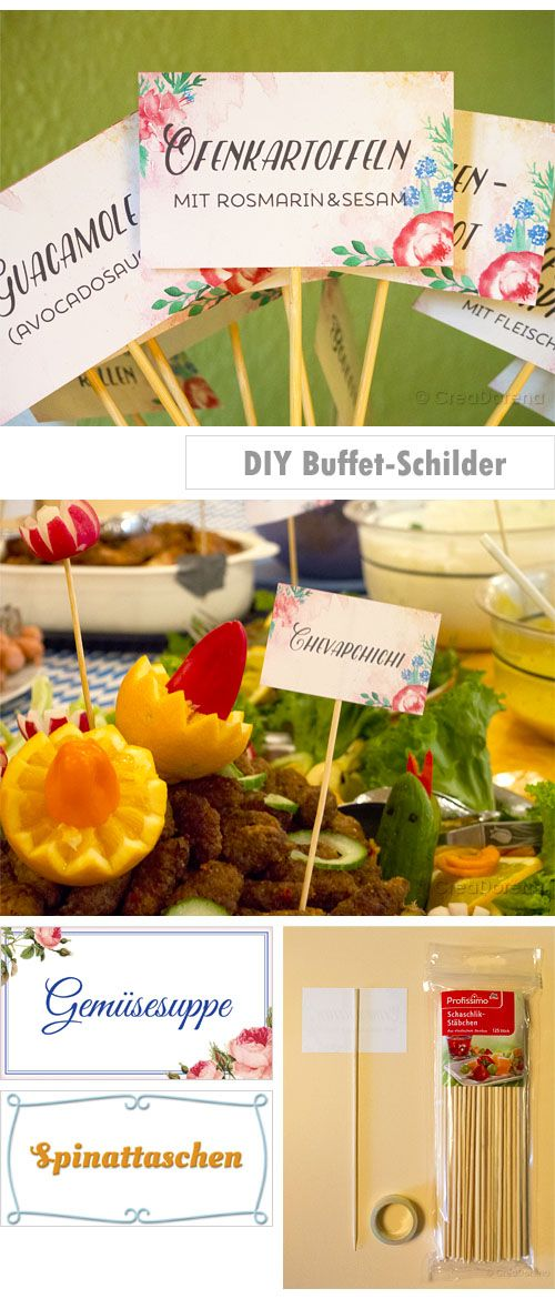➡DIY signs for each food on the buffet ➡DIY Etiketten für die Gerichte auf dem Buffet