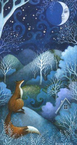 Talking to the Moon - Original acrylic painting by Amanda Clark