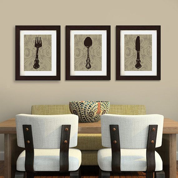 Love this kitchen or dining room art print trio by for Dining room wall decor ideas pinterest