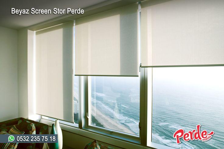 Beyaz Screen Stor Perde  Screen perdeler, güneş kırıcı özelliği ve sade görünümü ile genellikle ofis ortamları ve çiftli sistem perdelerin tül kısmı için tercih edilir. Manzaranızı kapatmaz, dekoratiftir.  #stor #screen #perde #beyaz #tül #güneşlik