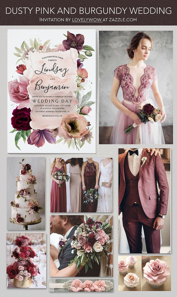 Dusty Pink And Burgundy Red Muted And Slate Color Shades
