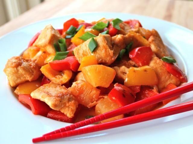 Кисло-сладкие куриные кусочки с ананасом - рецепт на Российский Wok-Shop
