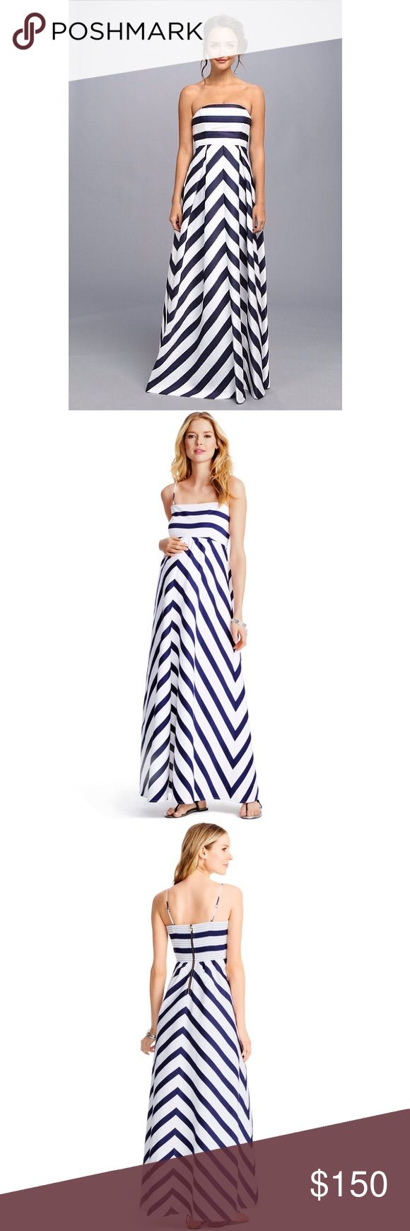 Jessica Simpson Nautical Striped Maternity Maxi This dress is GORGEOUS. I wore it to my brother in law's wedding last year. It was so much fun to wear!! Classic and sexy at the same time. The top can be worn with spaghetti straps or strapless, and has enough lining to forego a bra. The back has a gold zipper which makes a great accent, and also suggests fun gold accessories. This dress is so comfortable, and in like new condition. Only worn once for a couple of hours!! I am not set on…