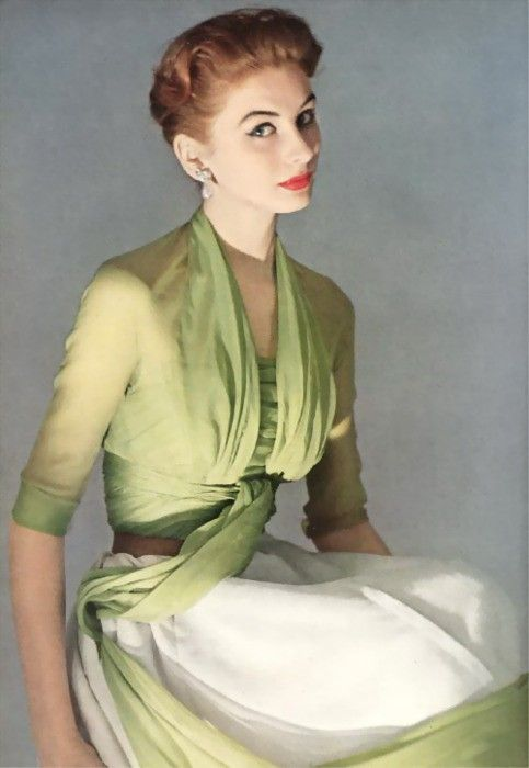 Suzy Parker. Dior spring 1952 water-lily green chiffon jacket & bodice, ribbed silk skirt honey leather belt. Dresden makeup by Charles of the Ritz