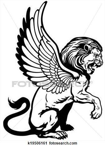 sitzen, geflügelter löwe Große Clipart Grafik anschauen