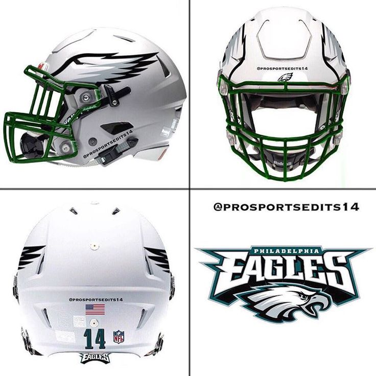 Philadelphia Eagles white concept design NFL football helmet