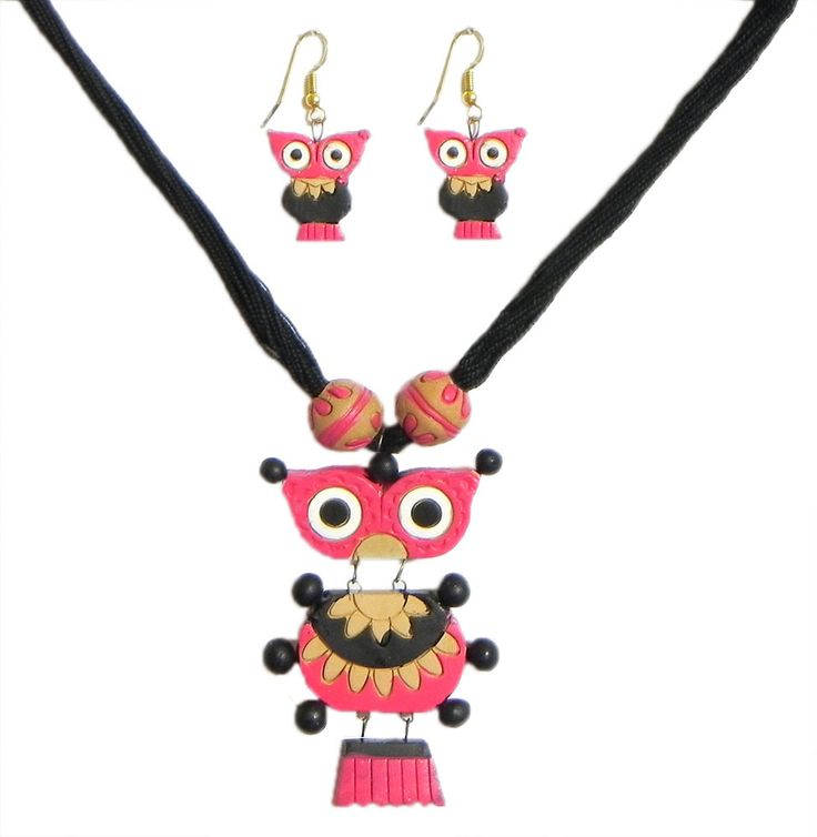 Black Thread Necklace with Hand Painted Black with Rose Pink Terracotta Owl Pendant and Earrings (Terracotta)