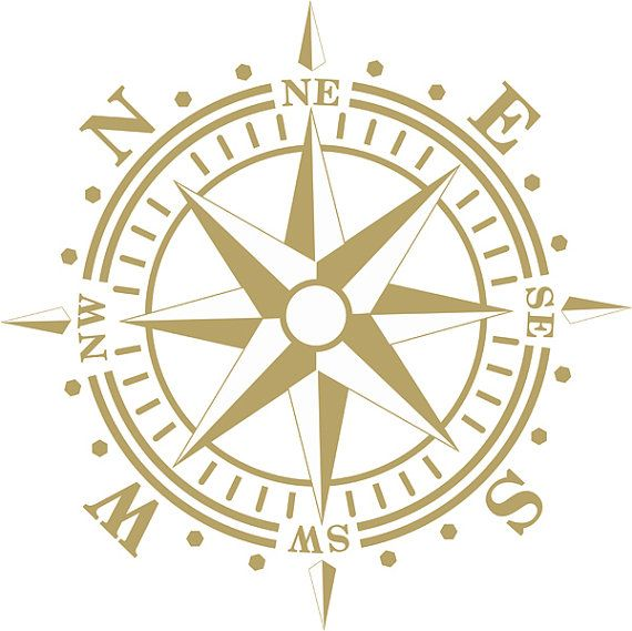 Compass Rose Wall Decal Graphic Art Removable by AmericanDecals