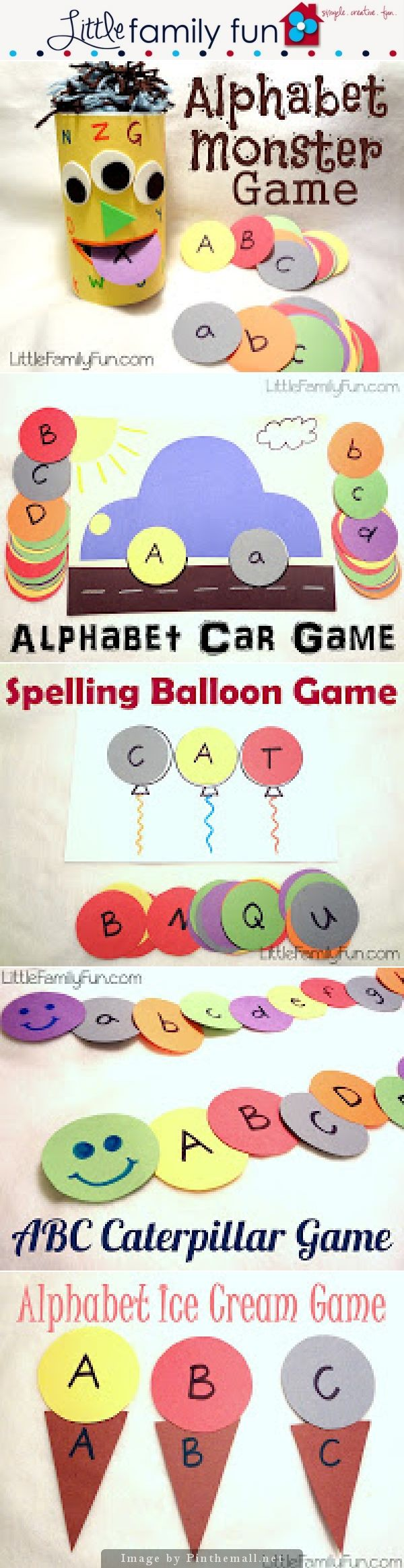 5 Easy To Make A-B-C Games Using Paper Circles! Children will enjoy learning the alphabet with these cute games | Alphabet Monster Game | Alphabet Car Game | Spelling Balloon Game | A-B-C Caterpillar Game | Alphabet Ice Cream Game |