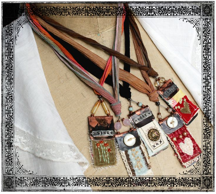 art quilt pendants by Rebecca Sower