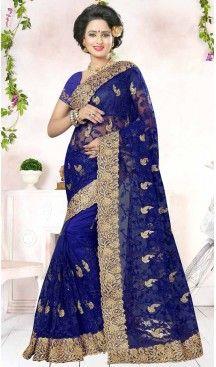 Designer Embroidery Deep Blue Color Net Ethnic Wear Sarees   FH527280286 >>Follow Us @heenastyle <<< ------------------------------------ #traditionalwear #ethnicwear #ethniccollection #onlinesarees #photoshoot #model #designersarees #sari #designersaris #attractive #beautiful #classy #usa #newyork #newjersey #australia #italy #unitedkingdom #golden #womenscloth #womenfashion #weddingseason #weddingwear #bridalwear #heenastylesaree #sarees #blouses #party #designerblouses  #bollywood