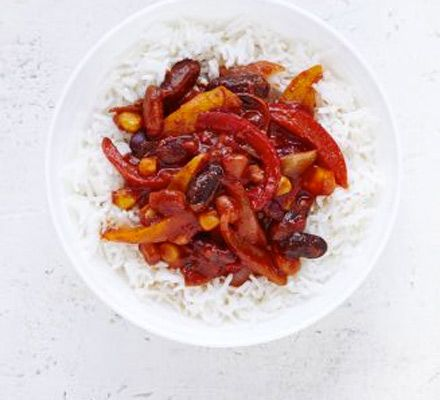 Bean and pepper chili. Use your choice of storecupboard pulses in this healthy vegetarian one-pot