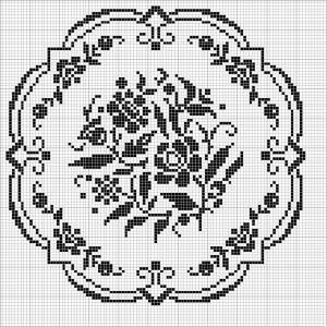 Round 32   Free chart for cross-stitch, filet crochet   Chart for pattern - Gráfico