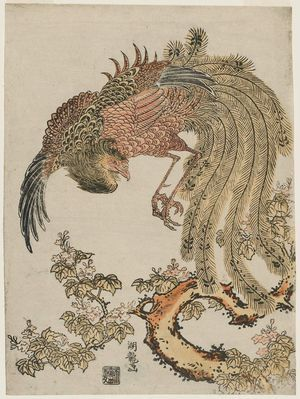 Phoenix and Paulownia Tree by Isoda Koryusai: Edo period