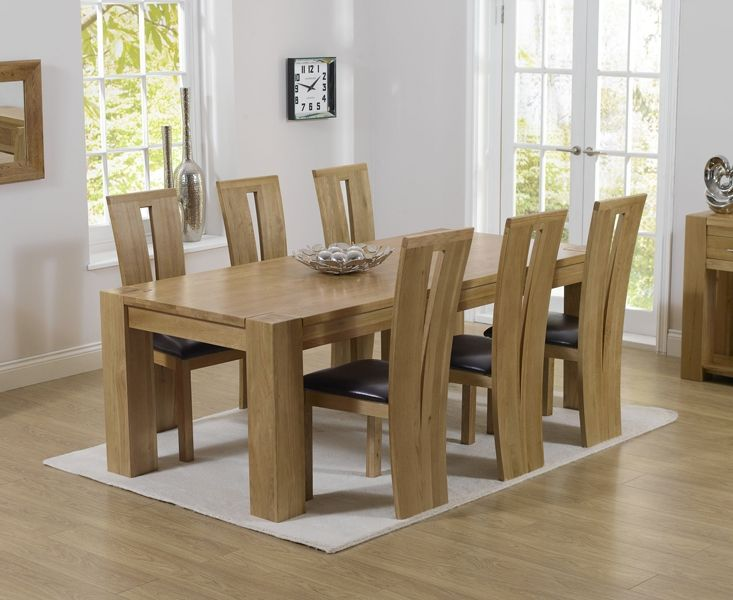 Mark Harris Tampa Oak 220cm Dining Set 6 Arizona Brown Chairs In