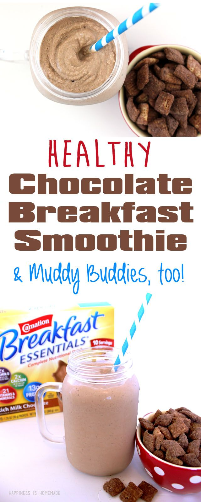 Healthy Chocolate Breakfast Smoothie (with hidden greens!) and Muddy Buddies mix, too! Yum! #BreakfastEssentials #pmedia #ad