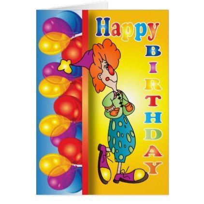 Happy Birthday Clown Card - birthday cards invitations party diy personalize customize celebration
