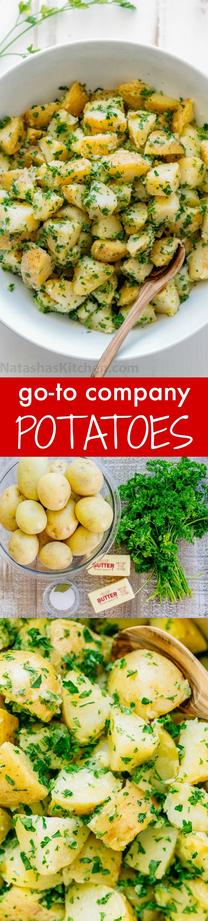 The BEST potatoes recipe is the simplest. Company potatoes always get compliments! The parsley and butter really bring out the flavor of yukon potatoes | http://natashaskitchen.com