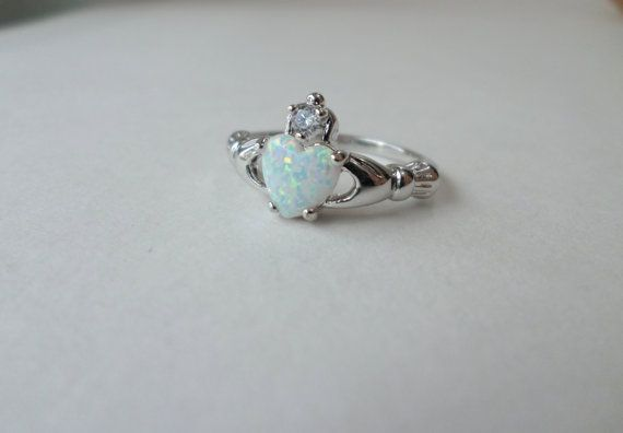 Opal Claddagh Ring Sterling Silver Claddagh Ring by EdnaCatherine
