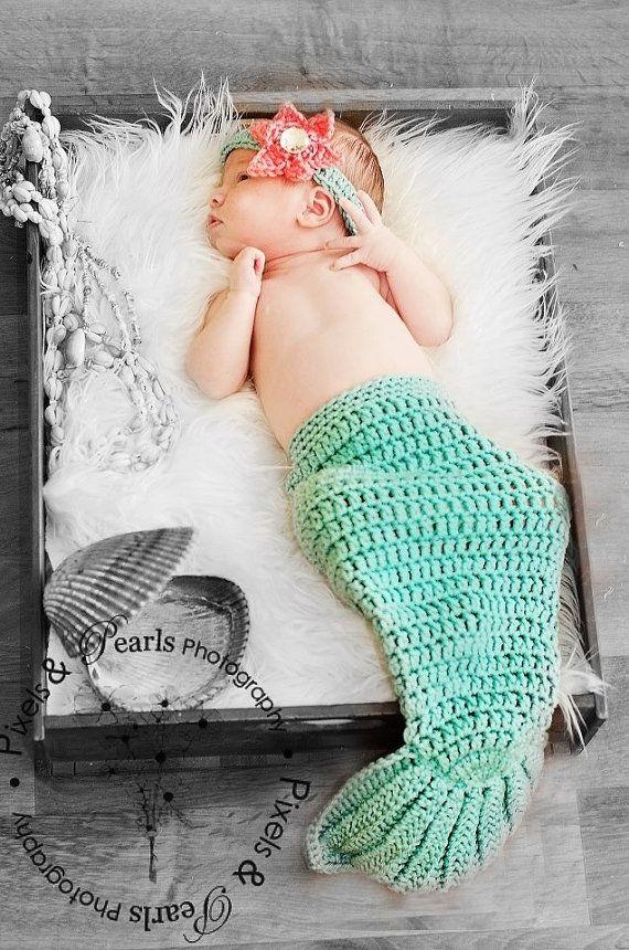Newborn Baby Girl Crochet Aqua MERMAID TAIL Photo by shayahjane, $28.00