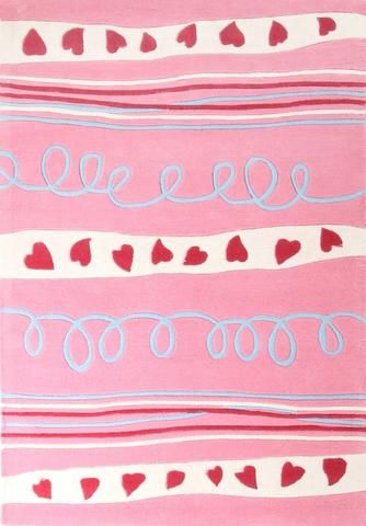 Hearts And Stripes Pink Children's Rug  | bocadolobo.com | #rug #rugs #luxuryfurniture #luxuryrugs