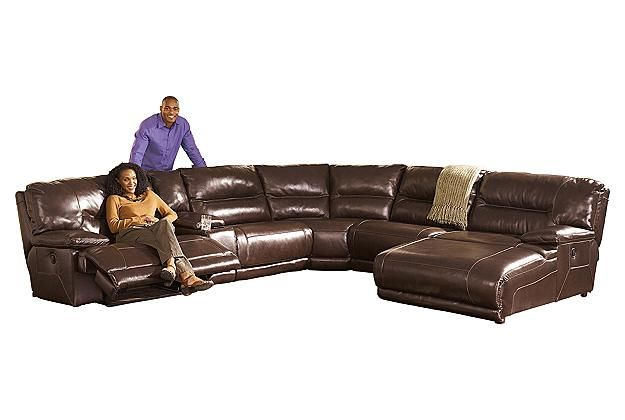 Brown leather sectional recliner couch and chaise lounge for Ashley brown sofa chaise