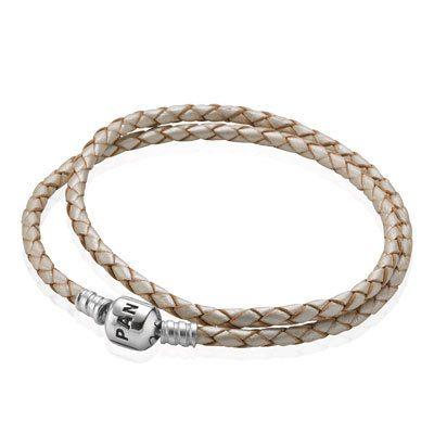 BRACELET S/S & LEATHER CREAM PLAITED 41CM WITH PANDORA CLASP - Jons Family Jewellers