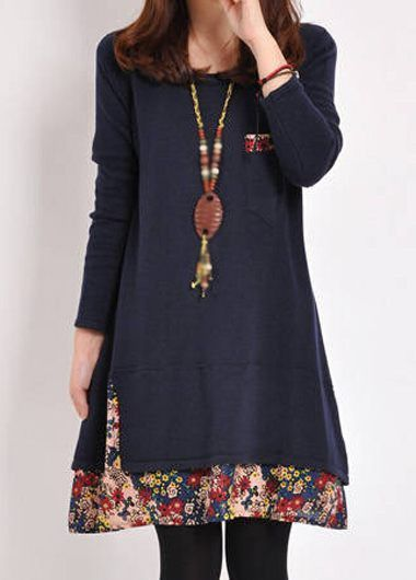 Autumn Winter Navy Blue Long Sleeve Swing Tunic Dress With Floral Paneled Trim
