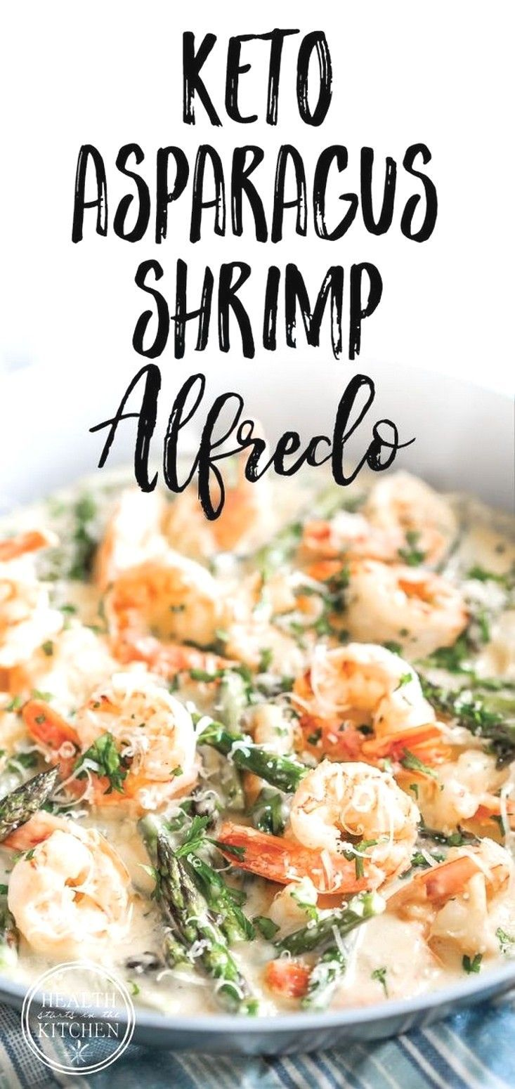 You must eat this Keto Creamy Asparagus and Shrimp Alfredo . B'cause it's so Delicious. ~ Just click pin to learn ~ Keto Recipes Easy   Keto R...