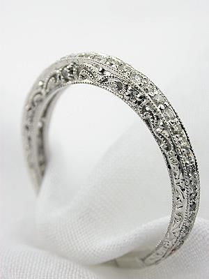 Beautiful antique diamond wedding band. Would look PERFECT with my engagement ring. FYI: I favorited this page so Austin could look at it! lol