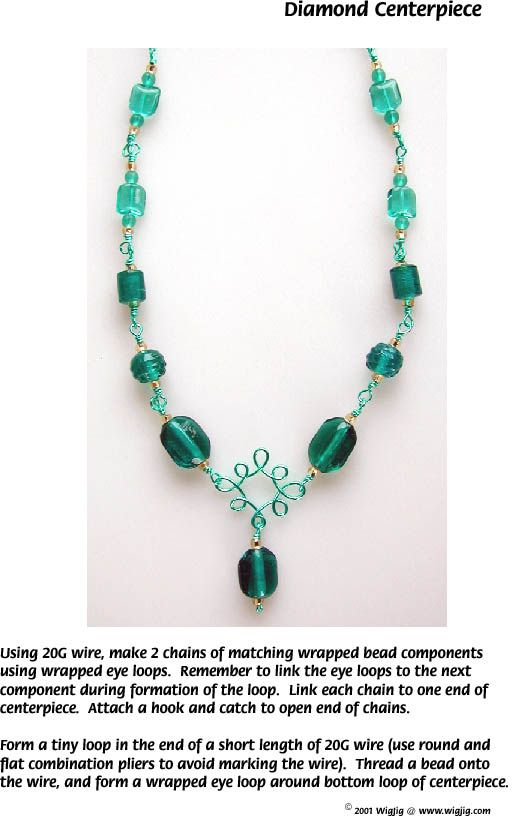 Diamond Centerpiece Wire and Beads Necklace made with WigJig jewelry making tools and jewelry supplies.