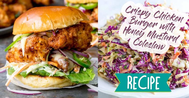 Crispy Chicken Burger with Honey Mustard Coleslaw on a toasted brioche bun, with jalapenos and crunchy lettuce. You'll be craving this all the time! #recipe #food