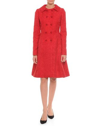 Floral-Jacquard Double-Breasted Jacket & Fit-And-Flare Dress, Red by Dolce & Gabbana at Bergdorf Goodman.